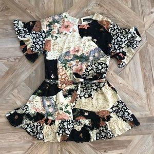 Urban Outfitters Mixed Pattern Ruffle Mini Dress